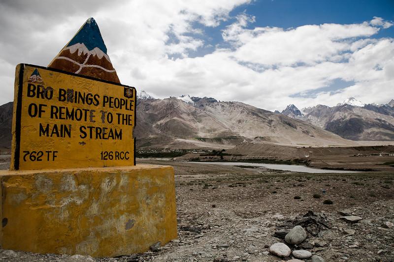 A signboard in Zanskar put up by BRO, Border Roads Organisation