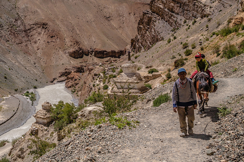 Path leading to Phuktal monastery, Zanskar, India