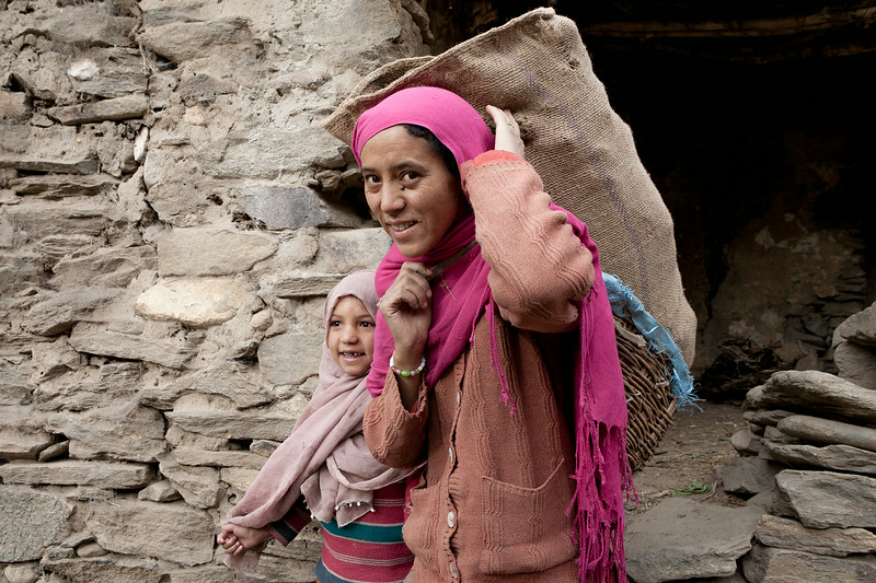Mother daughter duo collecting firewood in the morning in the village of Parkachik in Suru valley, India