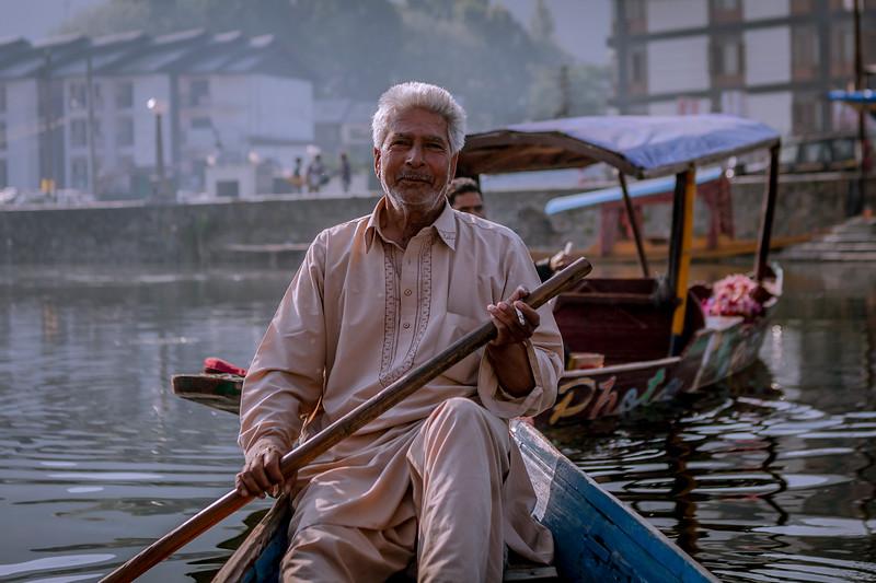 The guy rowing the shikara in Dal lake, Srinagar, Kashmir