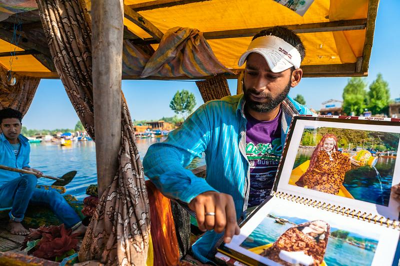 Photographer on Shikara, Srinagar, Kashmir, India