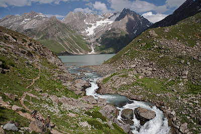 The emerald water of Sheshnag lake, the first night halt on the way to the holy cave along the Amarnath yatra route via Pahalgam.