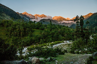 Clouds descend on the pine forest surrounded by the sun-lit golden Himalayas with a stream flowing by in the lush greenery.