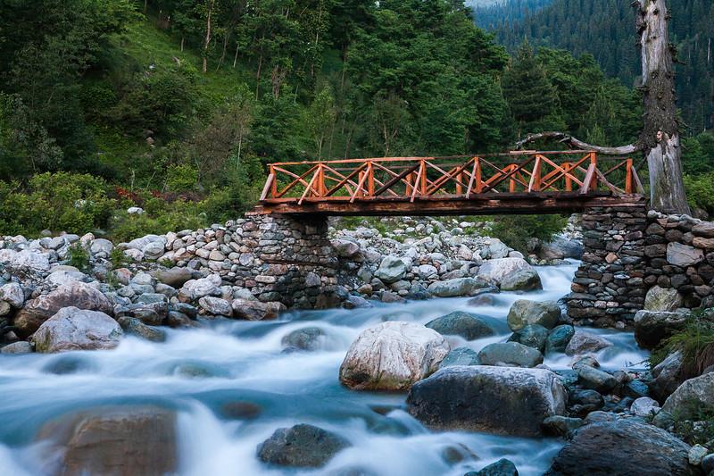 Bridge to Thimran, Kashmir, India