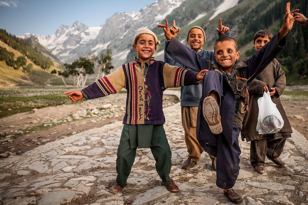Gujjar kids from Rajouri district, Sonamarg, Kashmir, India