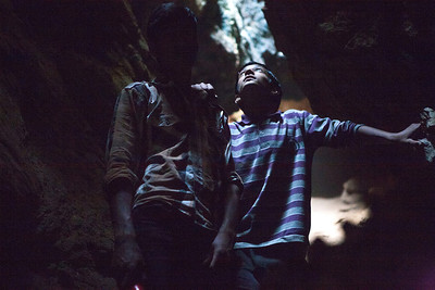 Two boys guide us out of the Kalaroos caves in Lolab valley, Kupwara district in northern Kashmir, India.