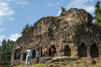 Satbern, a mysterious structure, with seven doors made in stone atop a hilltop in Lolab valley, Kupwara district in northern Kashmir, India