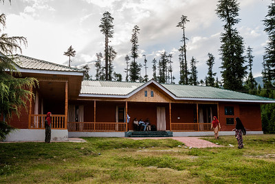 A guest house, run by the Jammu and Kashmir Tourism department, surrounded by pine trees, at Khumriyal in Lolab valley, Kupwara district in northern Kashmir, India