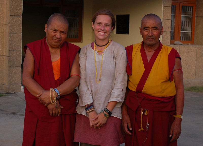 Emilie and a monk from Zanskar on the left and our Ladahki monk on the right (safe at Ladakh House in Jammu).
