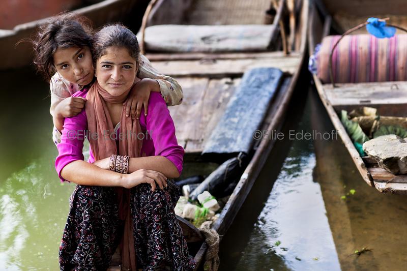 Girls on Nageen Lake - Kashmir, India