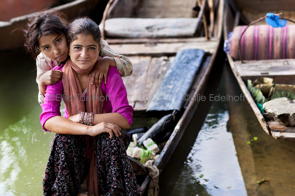 Girls on Nageen Lake - Kashmir, India