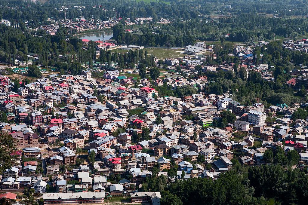 Aerial view of Srinagar, Kashmir, India