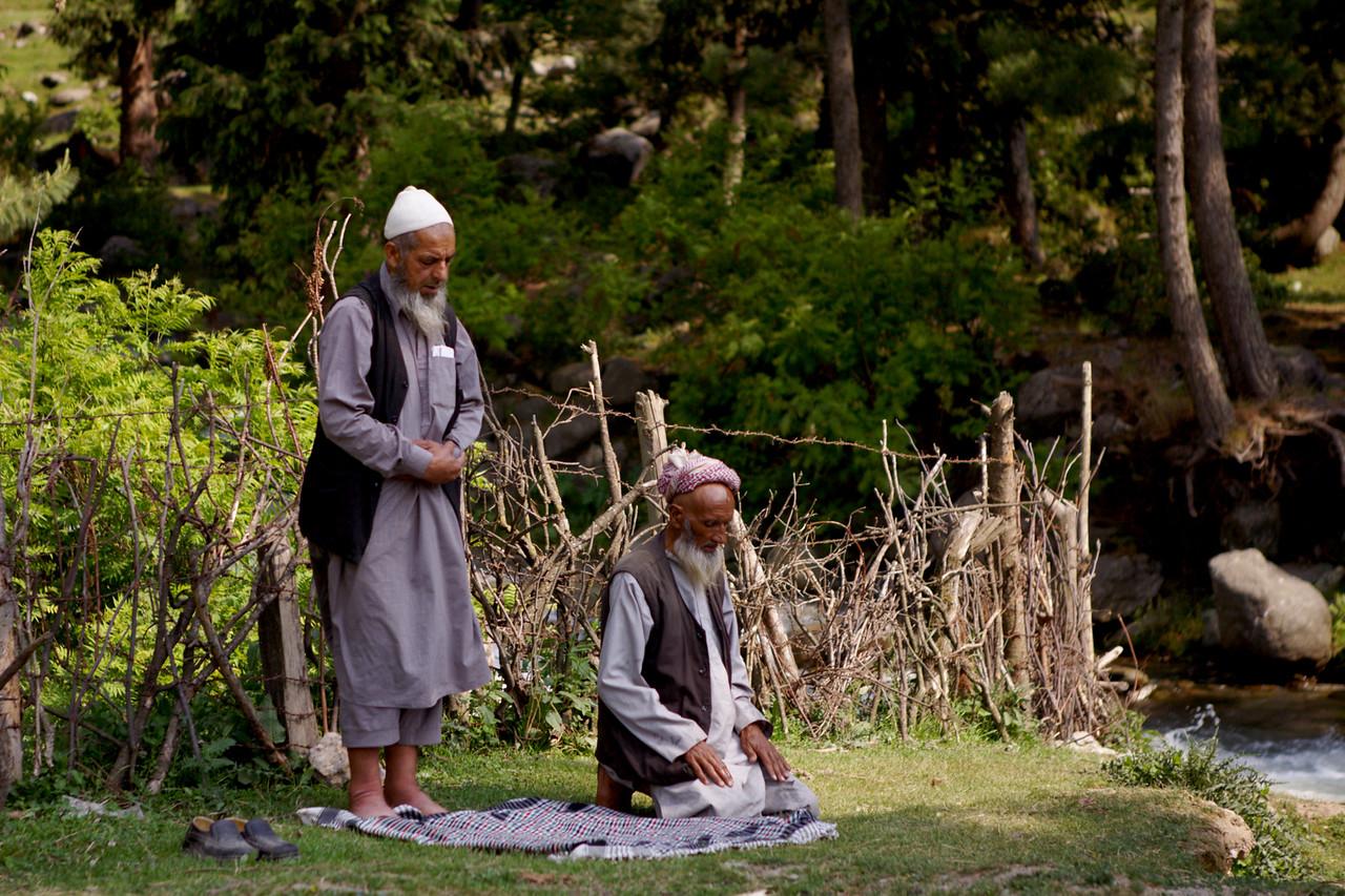 Namaz time at Rajpari Wildlife Sanctuary, Kashmir
