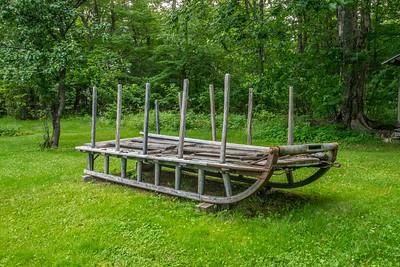 Cord wood sled at Katahdin Lake Camps