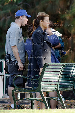 Kate Walsh during the set of the TV series Private Practce with co-star Benjamin Brad, in los Angeles,California.
