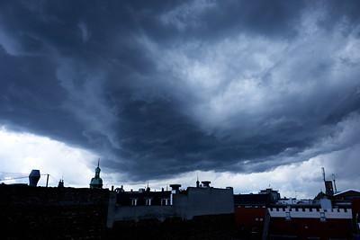 Dark low clouds