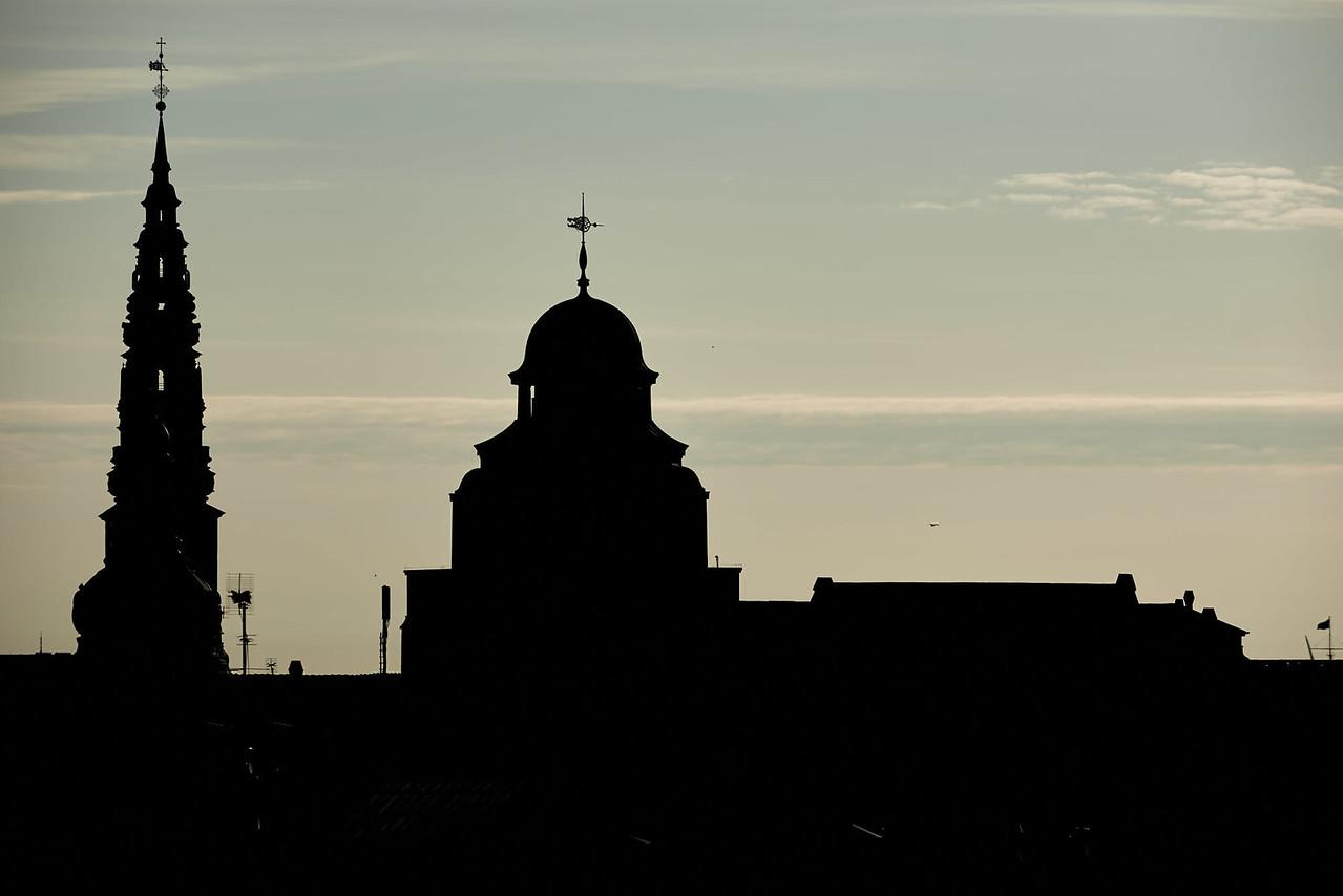 Buildings in silhouette