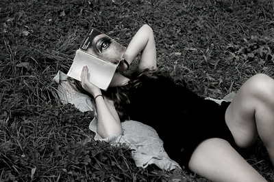 Reading on a lawn