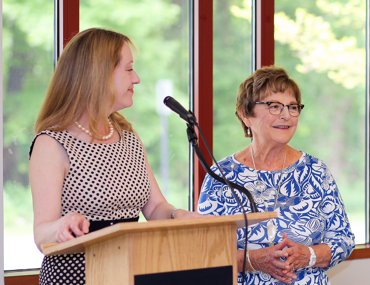 Canton First Selectwoman Leslee Hill, left, read a proclomation as Kathy Corkum was honored with an  Older Americans Act 2016 'blaze a trail' award on Friday. <br /> Photo by John Fitts