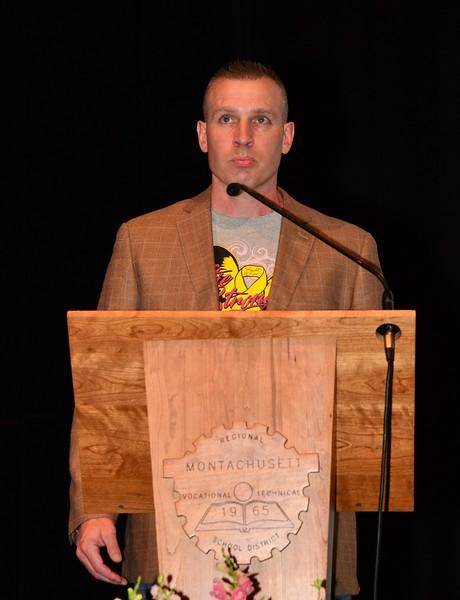Larry Rettige spoke at Katie LaBelle's Memorial.
