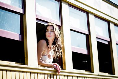 Tatum peeking out the train window.