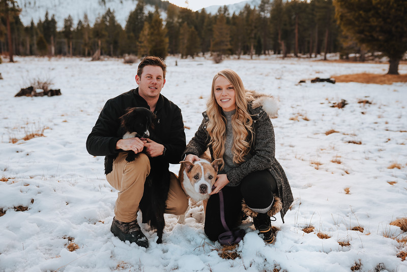 Early Winter South Lake Tahoe Engagement Session with dogs!