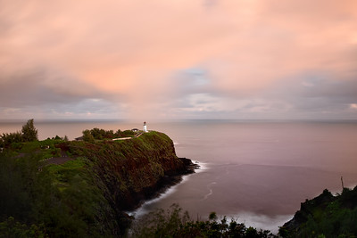 Long exposure sunset view of kilauea lighthouse, Kauai, Hawaii