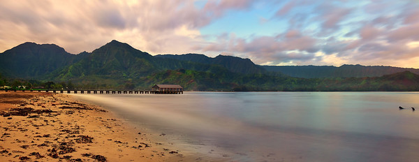 Panoramic view of Hanalei Pier before sunrise, Kauai, Hawaii