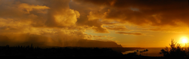 Afternoon Gold Panorama: view from Kilauea lighthouse road