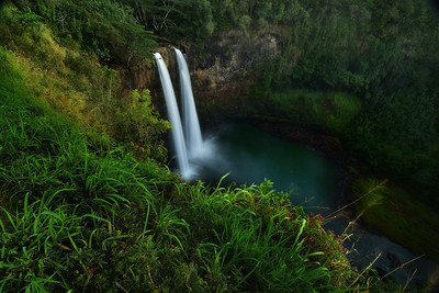 Roadside view of twin Wailua Waterfalls, Kauai, Hawaii