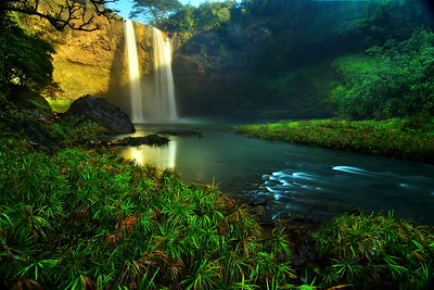 The base of Wailua waterfall, Kauai, Hawaii