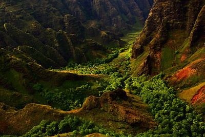 Aerial view of Nā Pali Coast State Park, Kauai, Hawaii