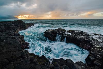 Sunset Along The Lava Rock Coast, Queensbath, Kauai