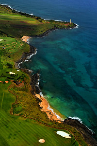 Aerial view from Helicopter of Ninini Lighthouse, Kauai