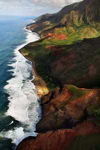 Vertical view of Na Pali coastline, Kauai, Hawaii