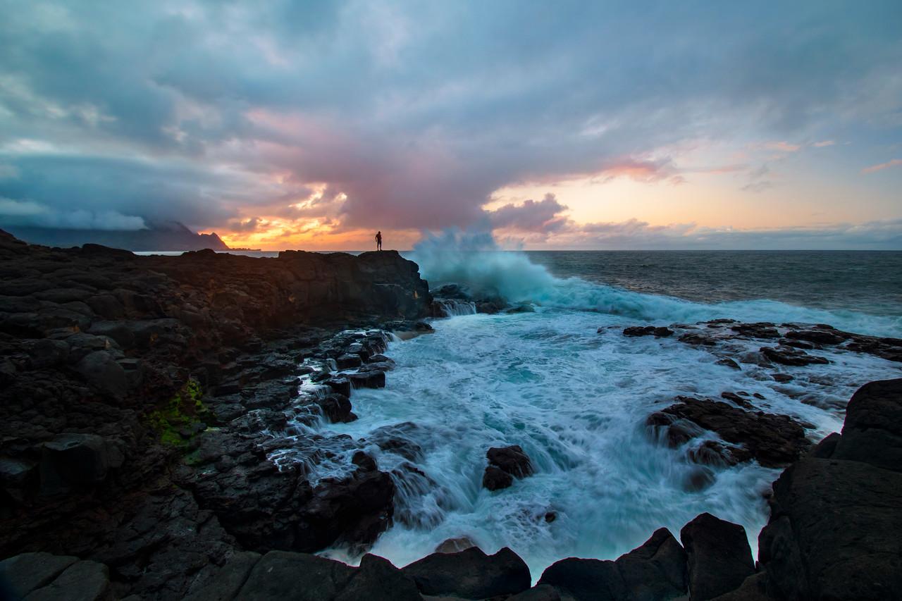 Seascape shot at Pricnveville shoreline after storm, Kauai, Hawaii
