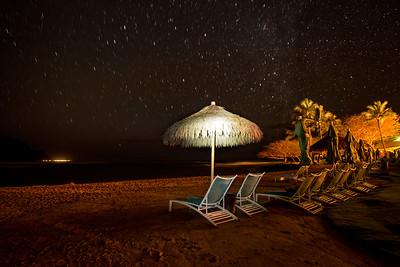 Starry night sky at the beach, Kauai, Hawaii