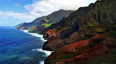 Majestic Na Pali cost viewed from above, Kauai, Hawaii