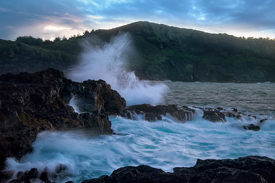 Wave Splash at Princeville coastline, North of Kauai, Hawaii