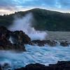 Wave Splash at Princeville coastline, North of Kauai, Hawaii