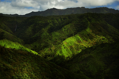 lush green mountains of Kauai Island, Hawaii