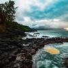 Lava Rocks at Princeville shoreline, Kauai, Hawaii
