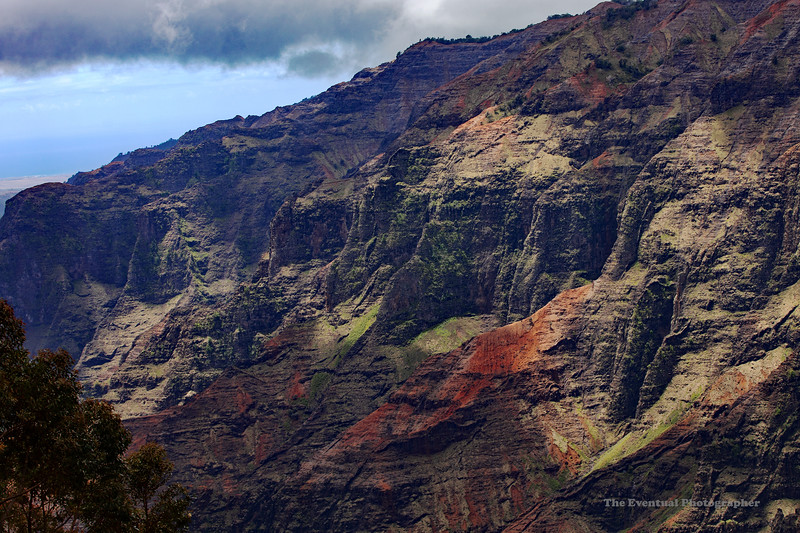 Waimea Canyon Rock Face With Distant Ocean (5530) Marked