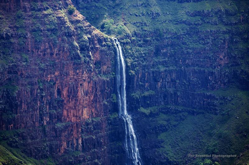 Waimea Canyon Distant Waipoo Waterfall Closeup (5437) Marked