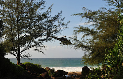 A Helicopter Departs -- Hanakapi'ai Beach can only be reached by air or foot  (C) 2009 Brian Neal