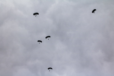 Lithuanian Air Force parachuters after team skydive.