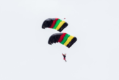 Parachuteers doing tricks