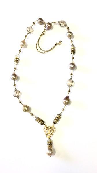 """7-BQP-CB CO145  BAROQUE PEARLS WITH LIGHT SMOKY QTZ ON VINTAGE RHINESTONE CROWNS ON GOLD HEISHI  30""""  NEW THIS MARKET"""