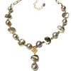 "73385-LAB CO179  LABRADORITE SLICES WITH  SILVER MING PEARLS 16+2"" EXT"