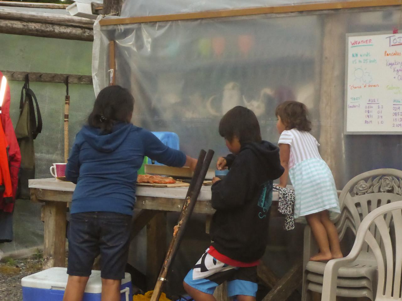 Preparing the salmon feast